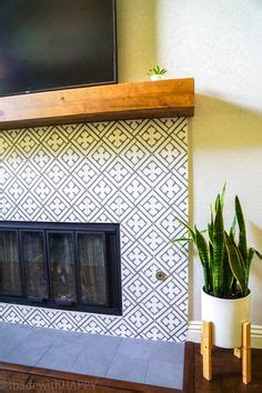 modern fireplace makeover   cement tile fireplace