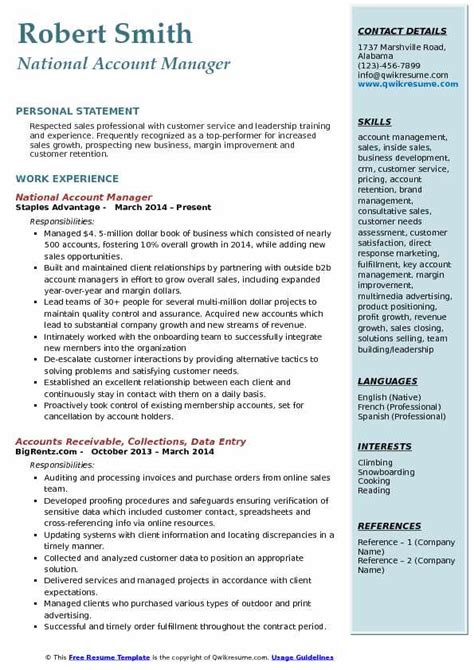 National Account Manager Resume Template account manager resume sles qwikresume