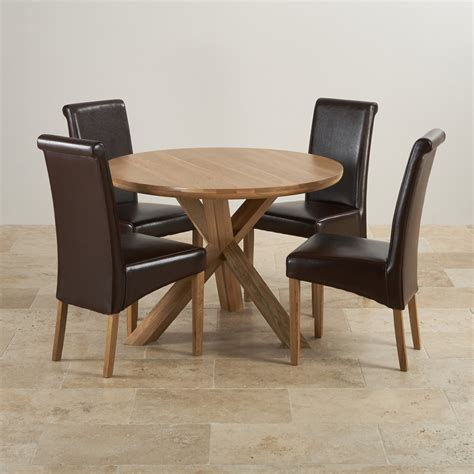 round dining table set for 4 natural real oak dining set round table 4 brown leather