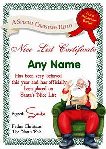 Santa nice list certificates santas letter for Cheap letters from santa claus