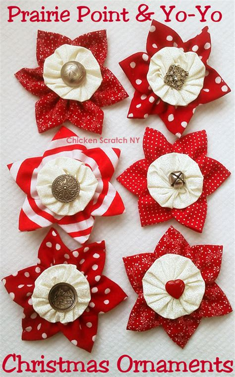 prairie point and yo yo fabric ornaments