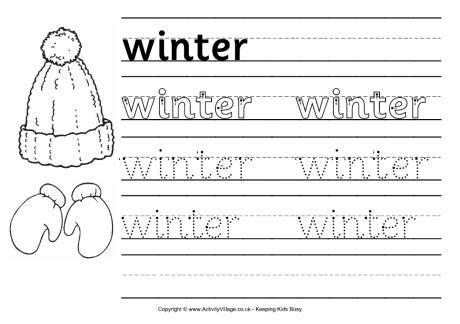 winter handwriting worksheet