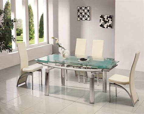 Extended Dining Room Tables by Donato Extending Glass Chrome Dining Room Table 6 Chairs