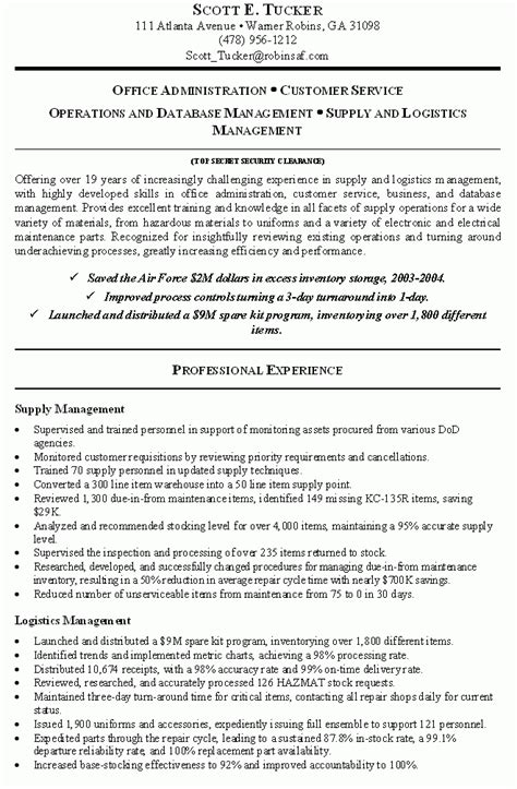 federal resume exle government resume template health