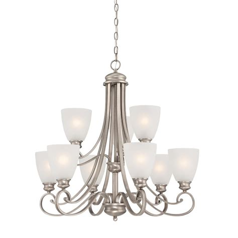 Pewter Chandelier by Lighting 9 Light Satin Pewter Chandelier With