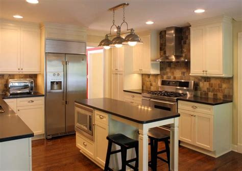 Island Ideas For A Small Kitchen by What About Fridge Where The Pantry Is And Microwave In