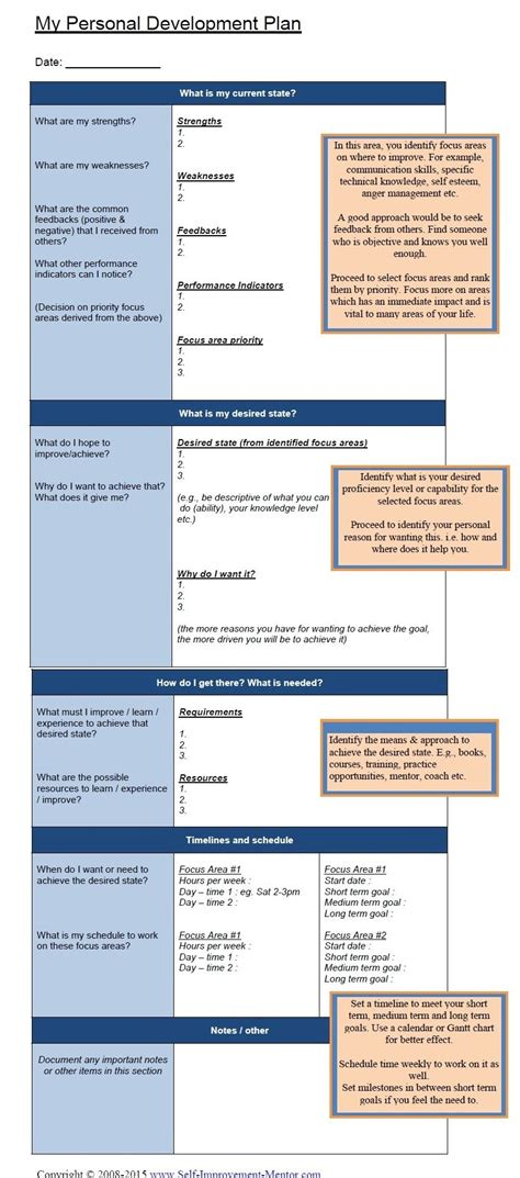 personal development plan template  images