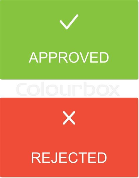 approved rejected interface dialog box stock vector