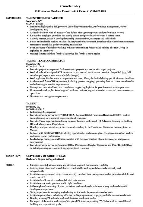 Talent Resume by Talent Resume Sles Velvet