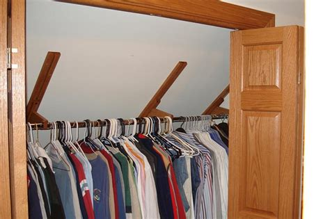 closet rod bracket angled ceiling ideas advices for