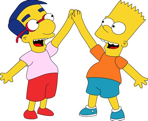 Bart And Milhouse Hi Five By Mighty355.deviantart.com On