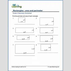 Grade 4 Math Worksheet  Geometry Find The Perimeter And Area Of Rectangles  K5 Learning
