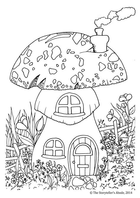 toadstool house colouring picture  enchanted place