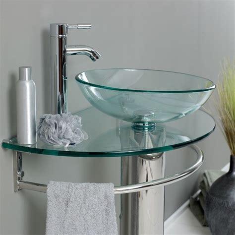 cuarto de bano templado transparente pedestal vidrio buque