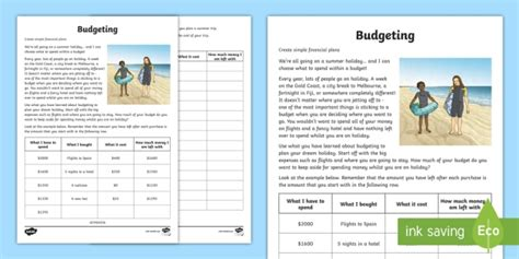 budgeting for a summer holiday money worksheet worksheet maths year 5
