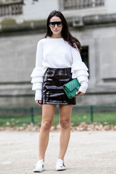Sweater skirt fall outfits streetstyle paris fashion week 2016 vinyl skirt ruffle sweater ...