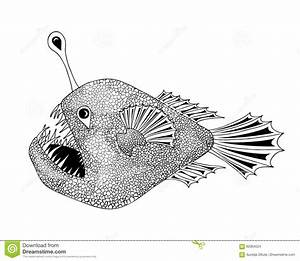 Stylized Anglerfish Drawing In Black And White Stock ...