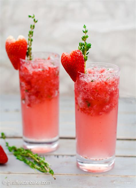 sweet mixed drinks strawberry and thyme slushie cocktails giraffes can bake