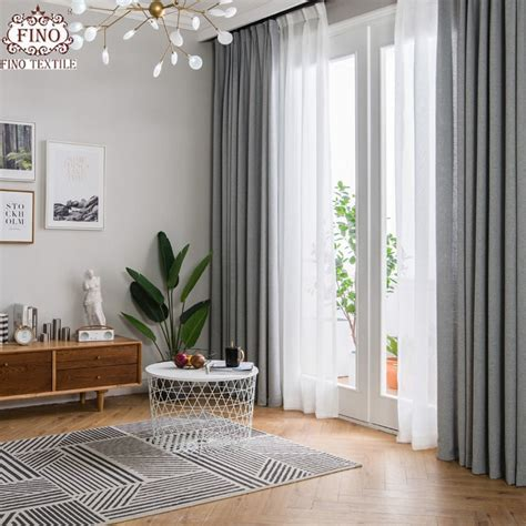 fino nordic gray solid curtain fabrics  living room