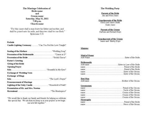 wedding program template personalized wedding programs