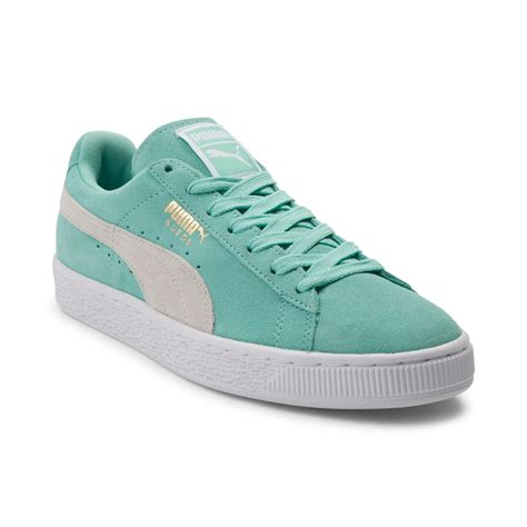color pumas shoes womens suede athletic shoe green 361625