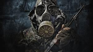 AK-47 Artwork Camouflage Gas Masks Military Post-apoc