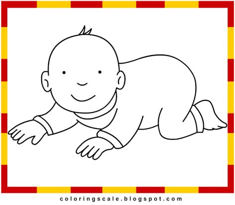 coloring pages printable  kids baby crawl coloring pages