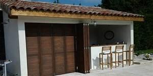 Volet Pliant Bois : pool house et volet persienne bois pliant coulissant miribel gpf ~ Melissatoandfro.com Idées de Décoration