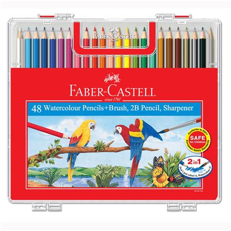 faber castell color pencils faber castell 48 watercolour pencils with brush 2b pencil