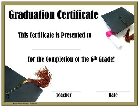 6th Grade Graduation Certificate Template School Graduation Certificates Customize With Or