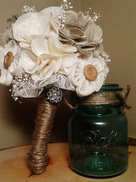 Rustic Wedding Bouquets W Burlap Rustic Chic Burlap