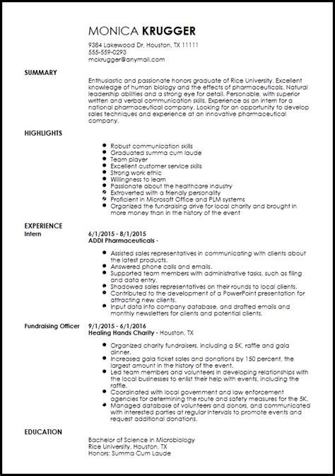 free entry level sales representative resume