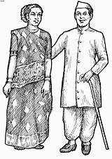 Traditional Gujarat Coloring India Kid Indie Coloringonweb sketch template