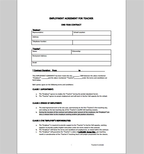 teacher employment agreement contract sample contracts