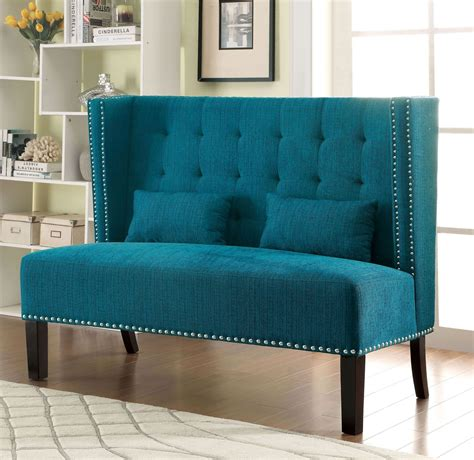 Teal Loveseat by Amora Teal Wing Back Loveseat From Furniture Of America