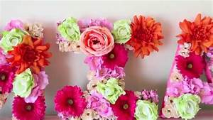 diy flower letter decor spring youtube With decorative letters with flowers