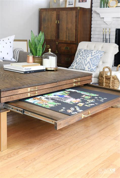 puzzle table with drawers diy coffee table with pullouts home made by carmona