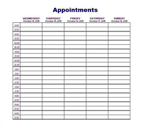 appointment schedules templates templates schedule