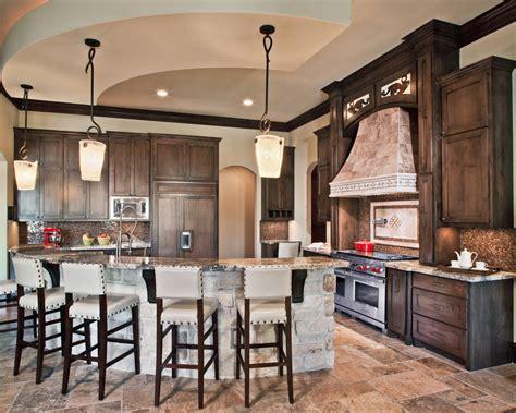 stone kitchen island Kitchen Transitional with beige