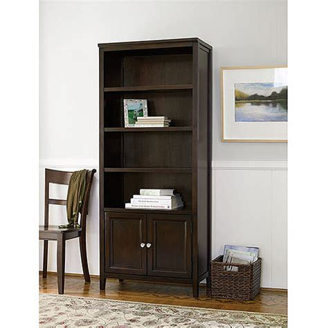 Walmart Bookcase With Glass Doors by Canopy 4 Shelf Bookcase With Doors Finishes