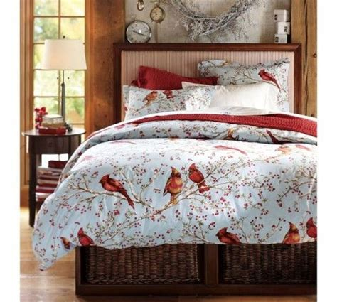 winter themed bedding cardinal duvet cover sham 1 500x449 cheerful snow bed cover and cardinal bird bedding theme