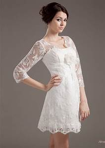 Gorgeous short wedding dresses with 3 4 sleeves sang maestro for 3 4 sleeve short wedding dress