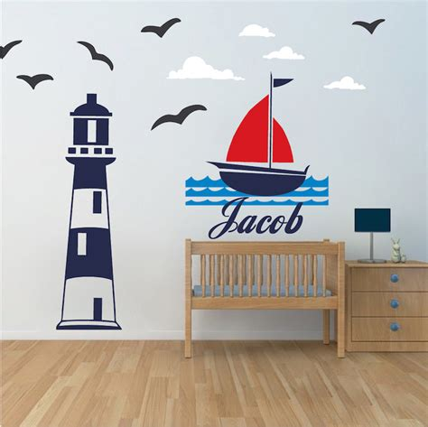 lighthouse wall decal nautical room wall decor sailing wall stickers removable