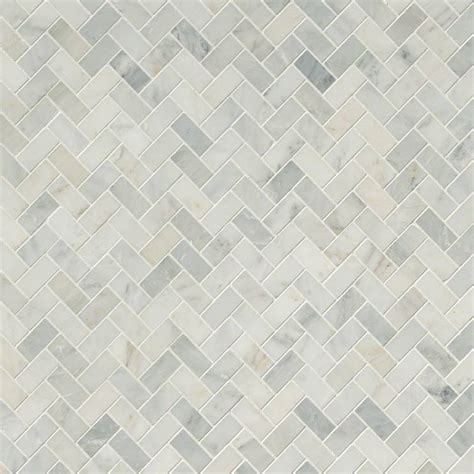 arabescato carrara herringbone pattern honed tile mosaics