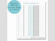 Editable Task & Label Box Printable Planner Sticker Set