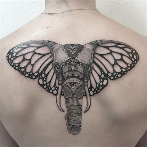 elephant tattoo  butterfly ears animal tattoo