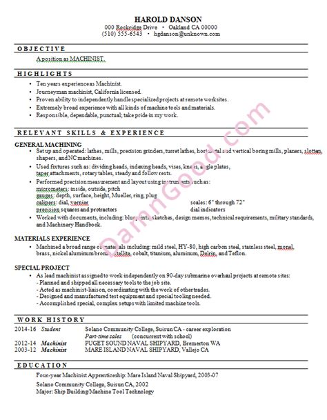Manual Machinist Resume Exles by Damn Resume Guide By Yana