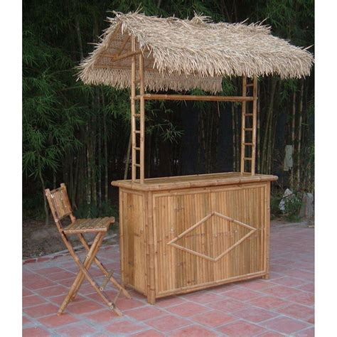 Tiki Bar Thatch For Sale by Bamboo54 3 Pc Thatch Roof Tiki Bar With 2 Folding Chairs