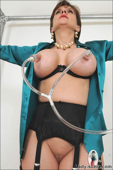 SexPreviews - Busty milf Lady Sonia in black stockings bound nipples tortured