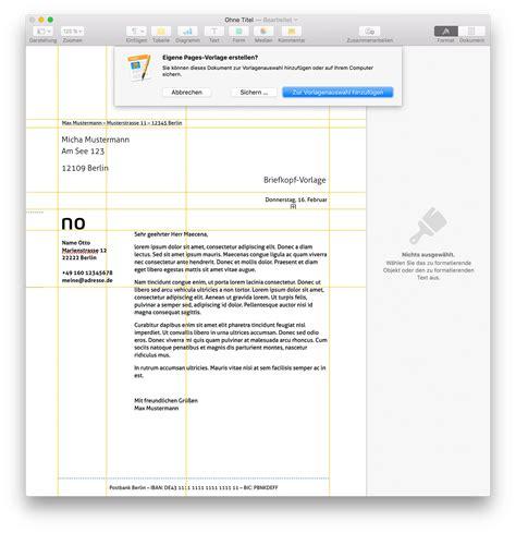 mac tipp persoenlichen briefkopf als feste pages vorlage